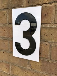 Acrylic House Numbers Black on White