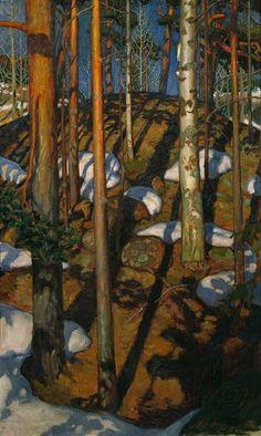 Akseli Gallen-Kallela - Frühling in Kalela Finland Gustav Klimt, Wassily Kandinsky, Landscape Art, Landscape Paintings, Of Wallpaper, Tree Art, Claude Monet, Art Reproductions, Painting Inspiration