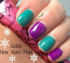 A bright and fun mani for New Years! #tealnails #purple #manicure  - See more nail looks at bellashoot.com