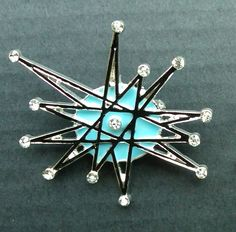 handpainted- ATOMIC STARBURST retro vintage look  franciscan BROOCH rhinestone pin jewelry pinup  star burst mid century sputnik. $15.00, via Etsy.