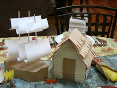 create a pilgrim village | How to Make a Paper Teepee and a Pilgrim Clapboard House From 2 ...