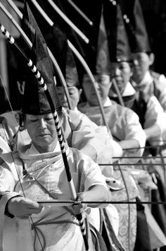 ♂ World martial art Japanese archery black & white