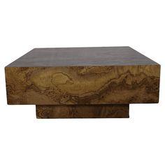 Milo Baughman Style Burled Wood Table