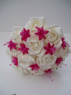 hot pink wedding bouquets | Artificial Ivory Roses and Hot Pink Wedding Flowers Posy Bouquet