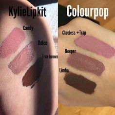Kylie lipkit vs colorpop swatches