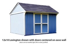 Lexington shown with doors centered on eave wall. Storage Sheds For Sale, Shed Storage, Traditional Sheds, Backyard Buildings, Outdoor Structures, Doors, Wall, Walls, Gate
