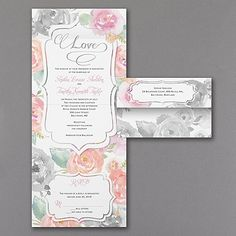 The watercolor roses on this seal 'n send wedding invitation will let guests know that your big day will be oh-so-romantic. #Invitations