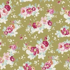 Tilda Fabric Flowercloud Olive 0.5 x 1.10 m | Etsy