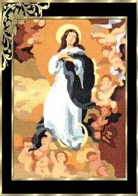 Tela con dibujo impreso de la Virgen de la Inmaculada para bordar a punto de cruz o petit point