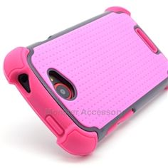 Click Image to Browse: $9.95 Pink X Shield Double Layer Hard Case Gel Cover For HTC One S