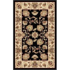 Bliss Rugs Gianna Traditional Area Rug, Black