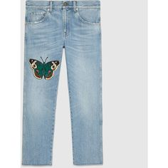 Gucci Embroidered Denim Pant (€600) ❤ liked on Polyvore featuring denim, ready to wear, women and gucci