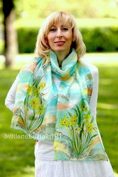 Spring silk scarf Green silk scarf Handpainted by ArtSilkLana