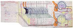Jean Perdrizet,  sans titre (Un robot ouvrier qui voit les formes par coupes de vecteurs en étoile), s.d., ronéotype, stylo à bille, feutre et crayons de couleur sur papier, 64 x 40 cm