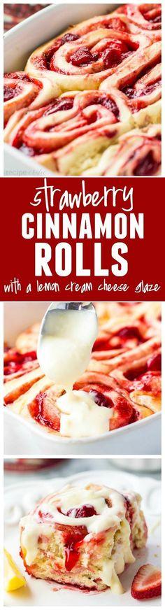 Strawberry Cinnamon Rolls w/ Lemon Cream Cheese Glaze make an amazing breakfast recipe that the whole family will LOVE!