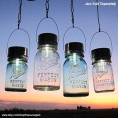Hanging Mason Jar Lights 4 Ball Mason Jar Solar Lights, Outdoor Garden Quart Aqua Blue Glass Antique Hanging Lanterns, Gifts via Etsy Hanging Mason Jar Lights, Solar Mason Jars, Ball Mason Jars, Mason Jar Lids, Mason Jar Lighting, Hanging Lanterns, Canning Jars, Jar Lanterns, Hurricane Lanterns