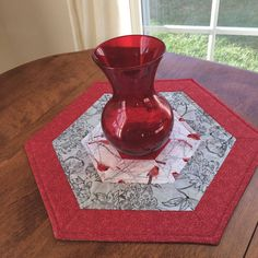 Winter Red and White Cardinal Quilted Hexagon Table Topper