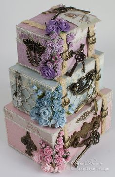 These little chipboard storage boxes were designed to be stacked to look like ladies suitcases. I lined them with colors of matching velvet so they can be used as jewelry boxes. I used Pion Design's E Shabby Chic Crafts, Shabby Chic Decor, Altered Boxes, Altered Art, Organizer Box, Memories Box, Diy And Crafts, Paper Crafts, Pretty Box