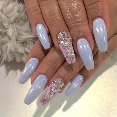 Coffin nails, nail art with jewel accents Gorgeous Nails, Pretty Nails, Blue Coffin Nails, White Chrome Nails, Nagel Bling, Manicure, Nagel Hacks, Glitter Acrylics, Ballerina Nails