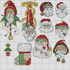 disegni piccoli Santa Cross Stitch, Cross Stitch Tree, Mini Cross Stitch, Cross Stitch Cards, Counted Cross Stitch Patterns, Cross Stitching, Cross Stitch Embroidery, Cross Stitch Christmas Ornaments, Christmas Embroidery