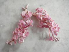Vintage 1950's millinery trim 2 pc rose pink velvet blossoms small peps wired