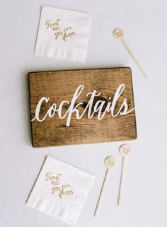 Cocktail signs: http://www.stylemepretty.com/2015/09/07/all-white-wedding-details-we-love/