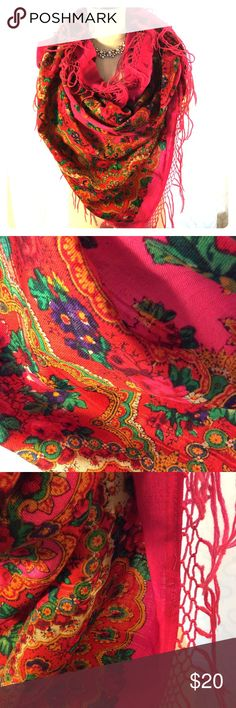 Beautiful Vintage Scarf Very large vintage pink and floral scarf. This is in prefect condition but has two 90 degree angle holes in it.  On is pictured in four.  Not sure what happened was like that when I purchased it.  Not even noticeable when wearing. Vintage  Accessories Scarves & Wraps