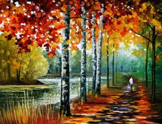 Birches painting  By The Lake  birches oil by AfremovArtStudio