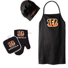 Cincinnati Bengals NFL Barbeque Apron, Chef's Hat and Pot Holder Deluxe Set