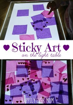 Sticky Art on the Light Table from Happilyevermom - use contact paper and tissue paper/sequins, etc...or even make laminated pieces so they can be moved around, with a background picture underneath?