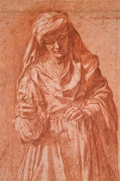 Jusepe de Ribera, Saint Irene, red chalk heightened with white. One of my favorites. I spent many hours studying it and copying it. Amazing!
