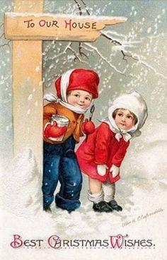 Oude kerstkaarten - Elfen & Boeken