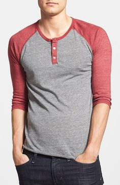 Alternative Trim Fit Heathered Raglan Henley available at  Nordstrom Polo  Hombre 9755a3d7282