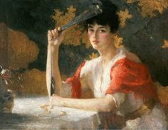 Frank Weston Benson, Red and Gold, 1915, oil on... - ArtMastered