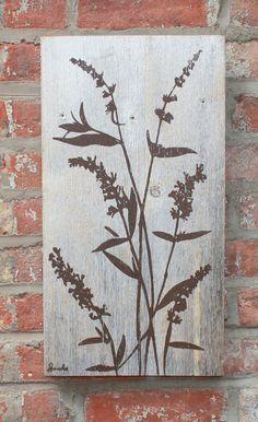 Brown Flowers on Grey Reclaimed Barn Wood Wall Hanging
