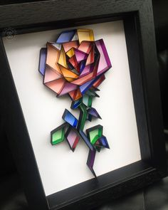 Rose Art, Black Rose in Quilling Art, Faux stained glass reflective foil wall art