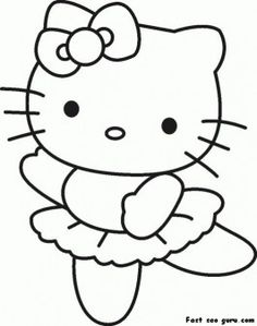 Print out hello kitty ballet dancer coloring in sheet - Printable Coloring Pages For Kids