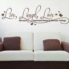 """Style and Apply Live, Laugh, Love Quote Wall Decal Size: 19"""" H x 59"""" W, Color: Turquoise"""