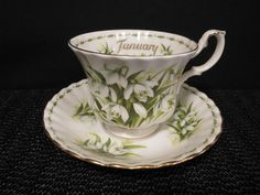 Royal Albert Snowdrops Flower of The Month January Teacup and Saucer