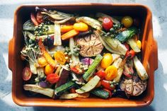 Roasted vegetables with caper vinaigrette. Saved for the caper vinegarette recipe. a recipe on Roasted Vegetables, Veggies, Veggie Recipes, Vegetarian Recipes, Healthy Recipes, Plenty Cookbook, Recipe Directions, Food 52, Vegetable Dishes