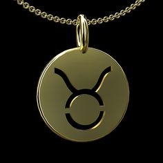All other zodiac signs are available.  Modern Taurus zodiac pendant is made of 14k yellow gold. Disc is 14mm tall (6/10 inch) 14mm (6/10inch) wide (measured in diameter without bail). Necklace comes w