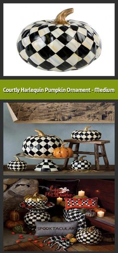 Decorative pumpkin Material: polyresin Dimensions: Turns the Courtly Check pattern into harlequin diamonds Topped with a golden stem In classic MacKe Pumpkin Ornament, Diamond Tops, Pumpkin Decorating, Home Accessories, Diamonds, Seasons, Ornaments, Patterns, Medium