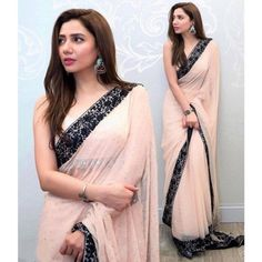 Stylish Indian Saree In Light Baby Pink Color Model# B 1814 Stylish Indian Saree In Light Baby Pink Color.Work Embalished With Black Threads Embroidery And Sequance Borders.In Middle Of Saree All Sequance Work. Mahira Khan Wedding, Farewell Sarees, Saree Designs Party Wear, Party Wear Sarees, Stylish Sarees, Trendy Sarees, Stylish Dresses, Formal Dresses, Baby Pink Colour