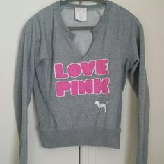 VS PINK sweater Ribbed detailing around the bottom, neck, cuffs, and on the sides. Size XS but fits like a S. Perfect condition, Heather gray. Make me an offer! :) Victoria's Secret Sweaters Crew & Scoop Necks
