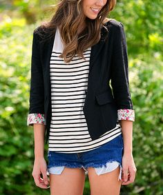 Look at this Black & Pink Floral Cuff Linen-Blend Blazer on #zulily today!