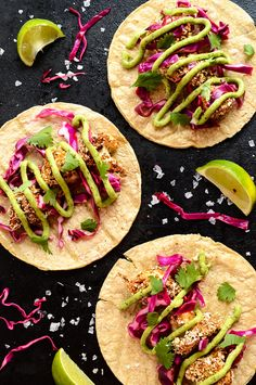 Crispy Cauliflower Tacos with Slaw & Avocado Cream - Healthy Plant-Based Vegan Recipes & Wellness Tips by Ashley Melillo Healthy Recipes, Mexican Food Recipes, Vegetarian Recipes, Cooking Recipes, Cauliflower Tacos, Cauliflower Recipes, Baked Cauliflower, Vegan Tacos, Healthy Tacos