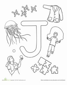 Preschool The Alphabet Letter J Worksheets: J Is For...