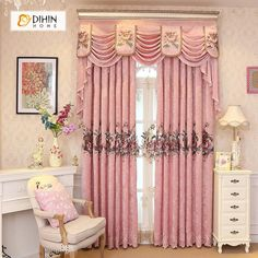 New European Chenille Embroidery Luxury Blackout Curtains For Living Room High End Villa Pink Luxury Bedroom Kitchen Curtains Tulle Curtains, Window Drapes, Grommet Curtains, Blackout Curtains, Valance, Living Room Windows, Living Room Bedroom, Girls Bedroom, Small Hallways