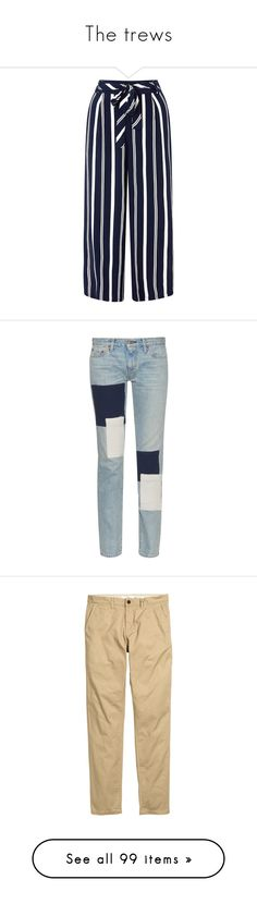 """The trews"" by noodlies15 ❤ liked on Polyvore featuring pants, capris, bottoms, trousers, cropped pants, striped trousers, striped pants, blue pants, cropped trousers and jeans"