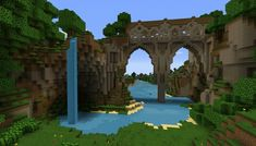 Persistence Minecraft Texture Pack // this bridge makes me want to build a small village on a bridge! Persistence Minecraft Texture Pack // this bridge makes me want to build a small village on a bridge! Minecraft World, Minecraft Bridges, Minecraft Building Guide, Minecraft Structures, Mine Minecraft, Minecraft Plans, Amazing Minecraft, Minecraft Tutorial, Minecraft Blueprints